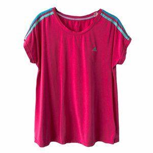 Adidas Retro Pink Shoulder Stripe Shirt Large